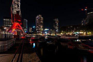 Rotterdam skyline over de haven van