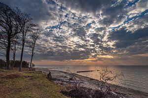 Strand im Sonnenuntergang an der Küste der Ostsee bei Graal Müritz