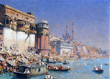 Munshi Ghat in Varanasi (ehem. Benares) am Ganges, Indien, ERICH KIPS, Ca. 1928 von Atelier Liesjes