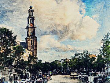 Westertoren aan de Prinsengracht (schilderij) van Art by Jeronimo