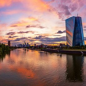 Frankfurt am Main - Skyline bij zonsondergang van Frank Herrmann