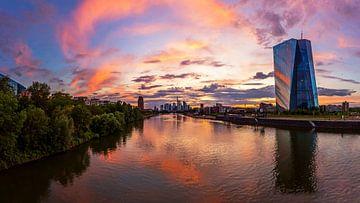 Frankfurt am Main - Skyline im Sonnenuntergang von Frank Herrmann