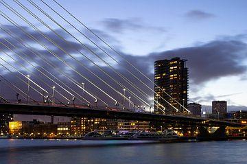 Erasmusbrug vanaf Noordereiland Rotterdam van Henk Elshout