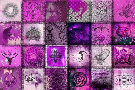Collage van tekens en symbolen, fuchsia roze en paars van Rietje Bulthuis