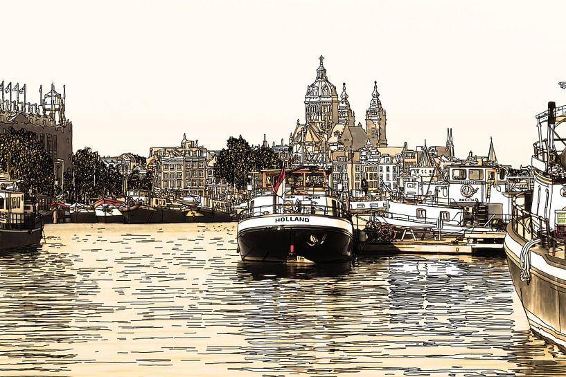 Pentekening Oosterdok Amsterdam Nederland Tekening Lijntekening Oud van Hendrik-Jan Kornelis