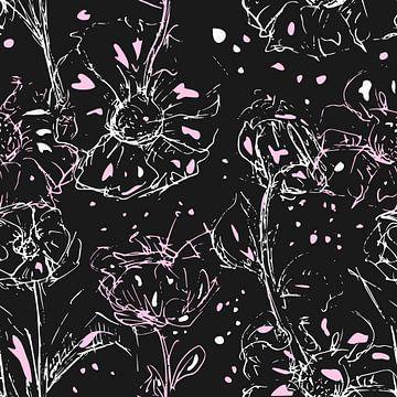 Skizze von Blumen in weißen und rosa Tönen auf anthrazitfarbenem Hintergrund. Moderner schicker Stil von Emiel de Lange
