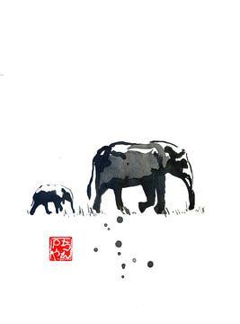 éléphants sur philippe imbert