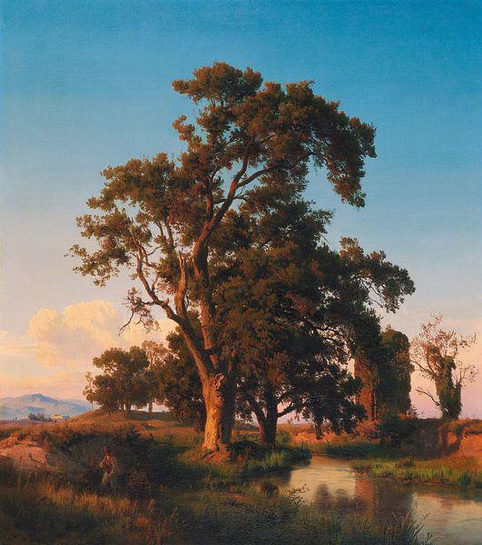 Oswald Achenbach.Baum im Abendlicht von 1000 Schilderijen