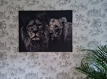 Kundenfoto: Löwe schwarz-weiß mit Titel: Löwenpaar von Designer, auf leinwand
