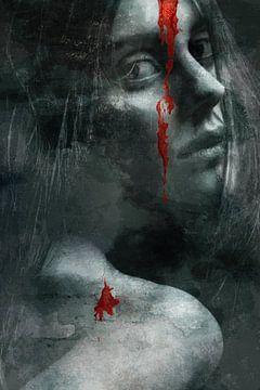 Porträt einer Frau mit rotem Fleck von Art By Dominic
