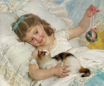 Émile Munier. Klein meisje met kat van 1000 Schilderijen