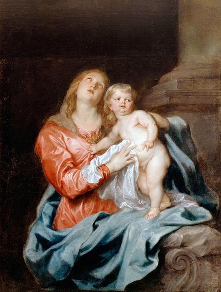 Die Madonna mit Kind, Anthony van Dyck von Meesterlijcke Meesters