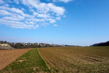 Sonniger Panoramablick auf Felder unter blauem Himmel von creativcontent