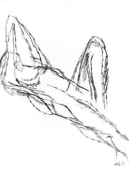 Vrouwelijk naakt liggend met opgetrokken been