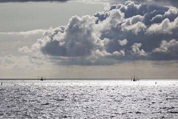 Bateaux de pêche en mer des Wadden sur