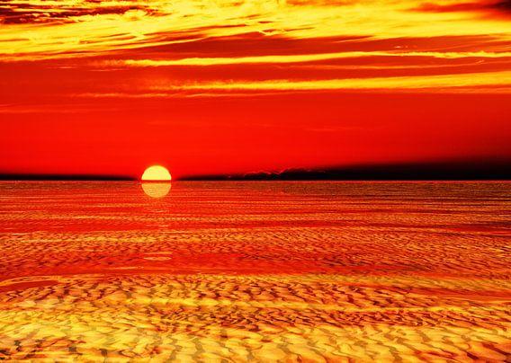 Waddenzee bij zonsondergang