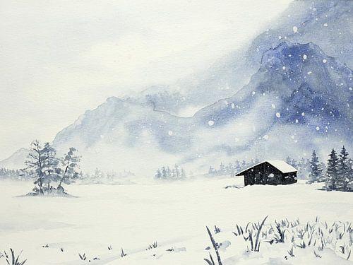 Sneeuwstorm bij de afgelegen winter cabine
