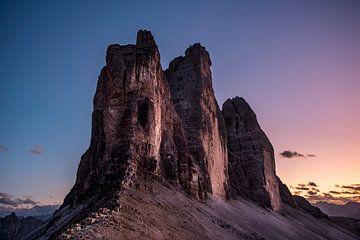 Drei Zinnen nach Sonnenuntergang von Marc Vandijck