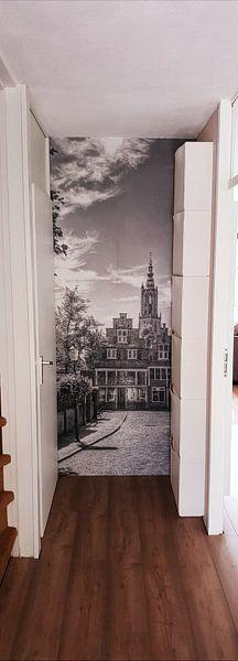 Klantfoto: Havik en Bloemendalse Binnenpoort historisch Amersfoort zwartwit van Watze D. de Haan, op behang