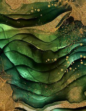 Abstrakte Marmor Landschaft Mit Gold Glitter von Uta Naumann
