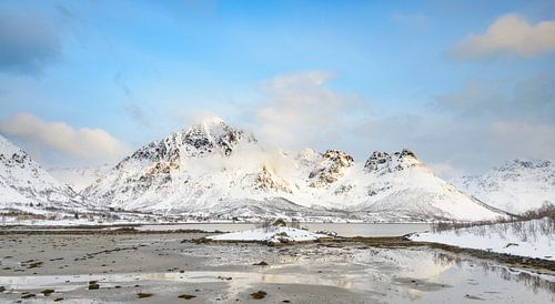 Winter landscape in Vesteralen  archipelago in Norway
