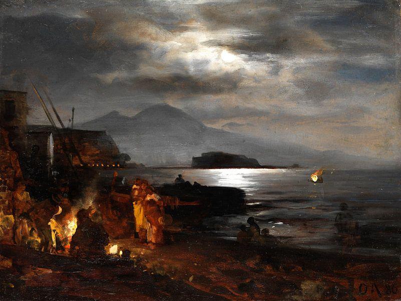 Oswald Achenbach.Nachtansicht von Neapel von 1000 Schilderijen