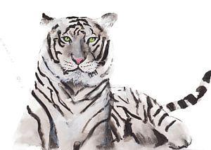 Print van een witte tijger, bijzondere dieren illustratie van Angela Peters