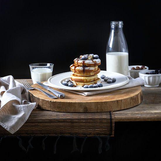 Amercan pancakes met blauwe bessen