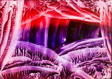 Encaustic Art rood paars lila oranje van Erica de Winter