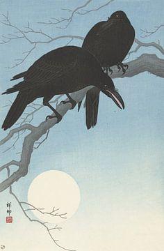 Zwei Krähen auf einem Zweig des Ohara Koson