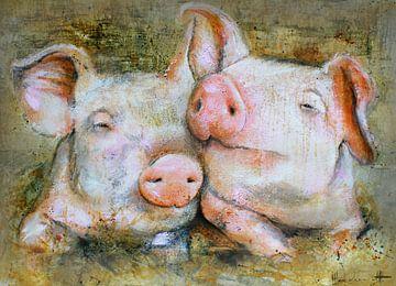 Pig friends van Atelier Paint-Ing