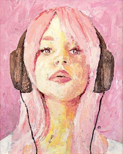 Cerise Pink - meisje met koptelefoon van