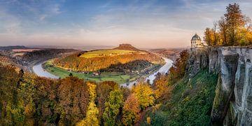 Elbschleife in de Sächsische Schweiz. van Voss Fine Art Fotografie