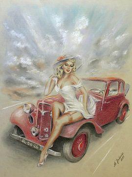 Meisje en klassieke auto - Vintage van Marita Zacharias