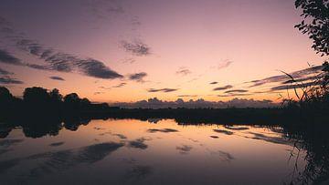 Zonsondergang in de polder Reeuwijk van Peter Boon