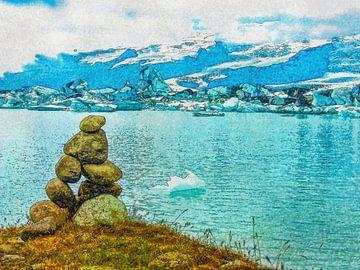 Steinmann an der Eis-See, Island von Frans Blok