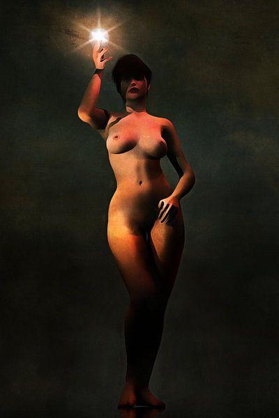 Erotisch naakt - Naakt met een lichtbron van Jan Keteleer
