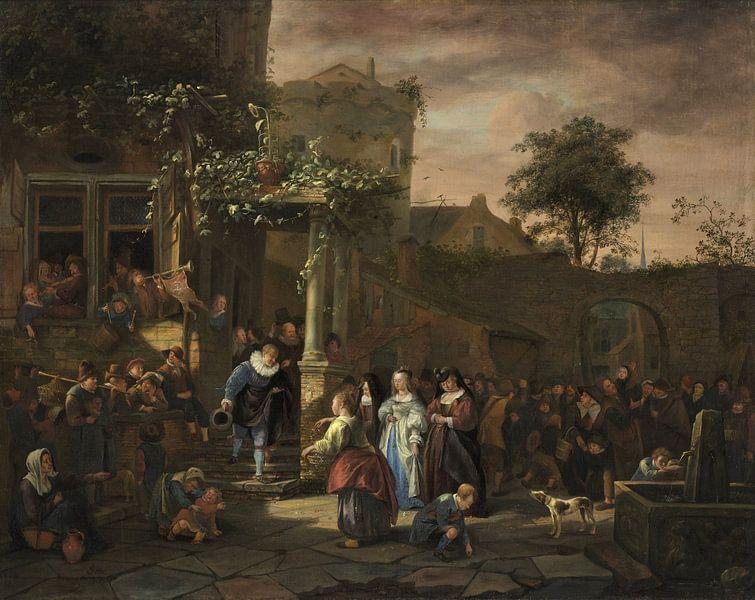 Jan Steen. De dorpsbruiloft van 1000 Schilderijen