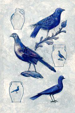 Blauwe duiven van Mad Dog Art