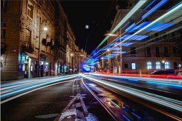 Lichtstrepen in Praag van Esmay Vermeulen