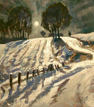 Südlimburger Feld mit Schnee bei Vollmond von Nop Briex