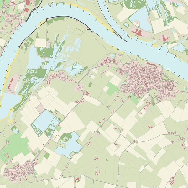 Kaart vanMillingen aan de Rijn van Rebel Ontwerp