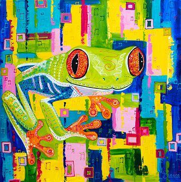 Rotäugiger Laubfrosch farbiger Frosch von Bianca ter Riet