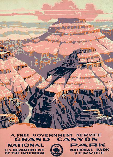 Grand Canyon National Park, een gratis overheidsdienst van Vintage Afbeeldingen