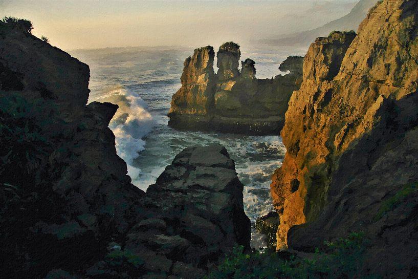 Landschap - Nieuw-Zeeland - Punakaiki - Schilderij van Schildersatelier van der Ven