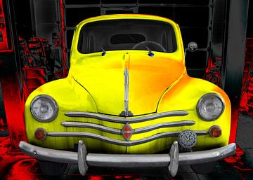 Renault 4CV crèmekoek in geel van aRi F. Huber