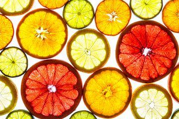 Collage aus Fruchtscheiben mit weißem Hintergrund. von Carola Schellekens
