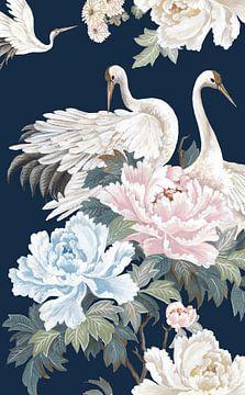 Perlweiß Cranes I, Eva Watts  von PI Creative Art