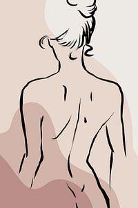 Moderne Lijntekening Vrouw Met Abstracte Vormen