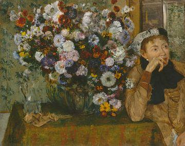Une femme assise à côté d'un vase de fleurs (Mme Paul Valpinçon?), Edgar Degas sur